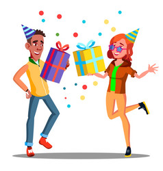 happy teenager in party cap with gifts in hands vector image