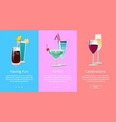 Having fun parties celebration web banner cocktail vector