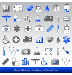 healthcare and hospital icons vector image vector image