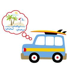 holiday time with blue car go to beach cartoon vector image