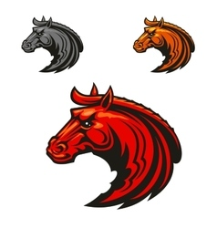 Horse stallion heads heraldic emblems vector