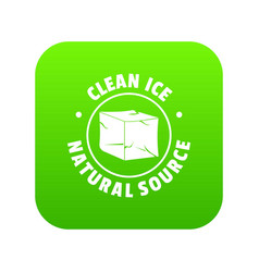 ice cube icon green vector image