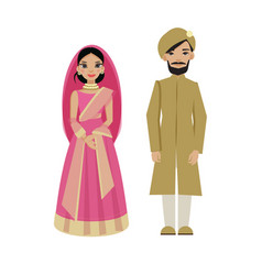 Indian couple in traditional wedding dress vector