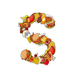 Letter s food edible sign alphabet from pizza and vector