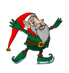 little christmas elf with gray beard is skating vector image