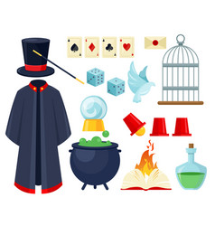 magician items flat set vector image