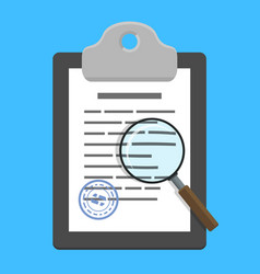 magnifying glass over clipboard with document vector image