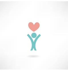 man with a heart icon vector image