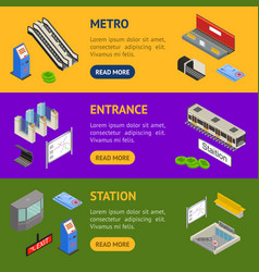Metro station 3d banner horizontal set isometric vector