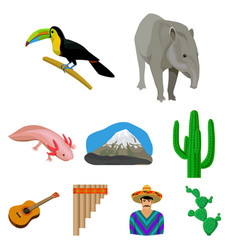 Mexico country set icons in cartoon style big vector