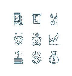 money finance line icons set vector image