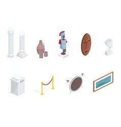 museum exhibition isometric exhibits vector image