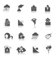 Natural disaster icons black vector