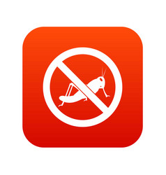 No locust sign icon digital red vector