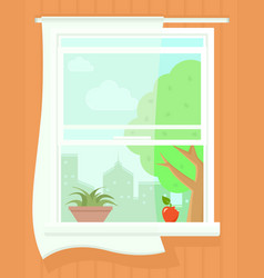 Open window with summer landscape succulent plant vector