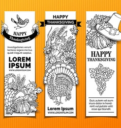 Paper Thanksgiving vertical banners set vector