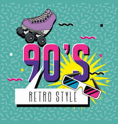 Poster nineties with roller skate style pop art vector