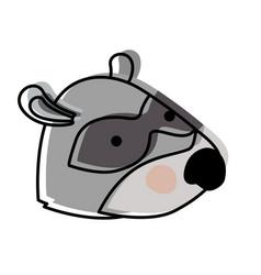 raccoon cartoon head in watercolor silhouette vector image