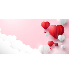 red and white hearts shaped balloons flying in sky vector image