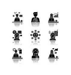 Remote jobs drop shadow black glyph icons set vector