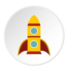Rocket with two portholes icon flat style vector