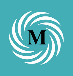 Round emblem with letter m on blue background vector