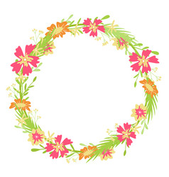 round floral frame hand-drawn spring colors vector image
