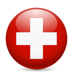 Round glossy icon of switzerland vector