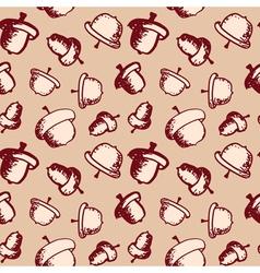 Seamless acorn pattern vector image