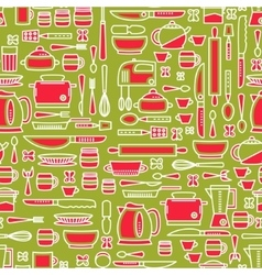 Seamless pattern featuring various kitchen vector