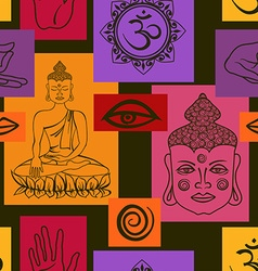 Seamless pattern of Buddhism signs vector image