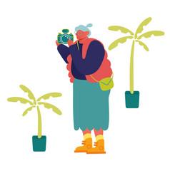 senior tourist character visiting sightseeing vector image
