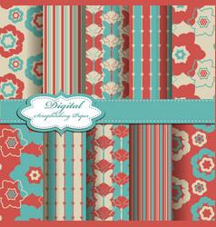 Set of abstract flower scrapbook pattern vector