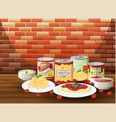 set of pasta with different sauce vector image