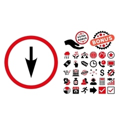 Sharp Down Arrow Flat Icon with Bonus vector image