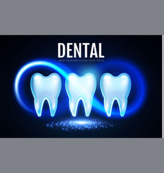 Shining helthy tooth with motion lights cleaining vector