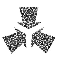 Shrink arrows mosaic of dots vector
