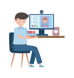 Stay at home online education teacher with vector