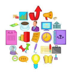 strategics icons set cartoon style vector image