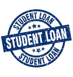 Student loan blue round grunge stamp vector