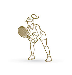 Tennis player action woman play tennis outline vector