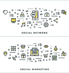 Thin Line Social Network and Social Marketing vector image