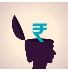 Thinking concept-human head with rupee symbol vector