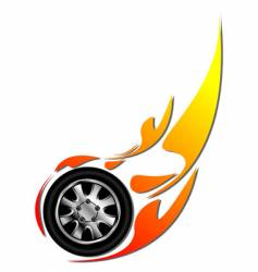 tyre on fire vector image
