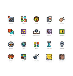 video game genres icons set in filled outline vector image