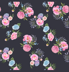 watercolor floral bouquet seamless pattern vector image