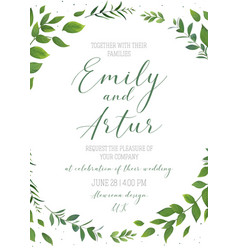 wedding floral invite save date card design vector image