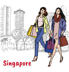 Woman and man with shopping bags on orchard road vector