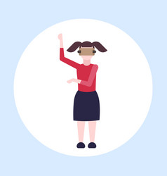 woman wearing modern 3d glasses girl experiencing vector image