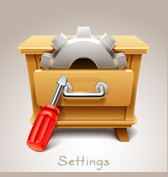 wooden drawer for settings icon vector image